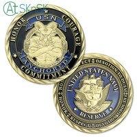 1-10 unids/lote regalos de Año Nuevo bronce antiguo Estados Unidos Navy coin USN US navy goat challenge colección de monedas para recuerdo
