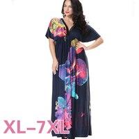 Hot Sale Women Summer Beach Dress 2016 New Printed Short Sleeve Sexy V Neck Blue