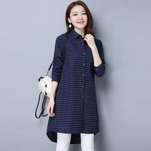 #2906 Long Shirts For Women Casual Slim Long Sleeve Stripe Tunic Shirt Ladies Elegant Office Tunic Shirt Korean Style Blue Black цена и фото