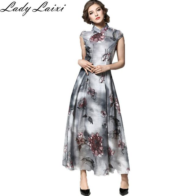 cf2d83db437 2017 Spring Summer New Women s Elegant printed Chinese Style Retro Clothes  Cheongsam Dress