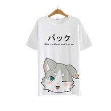 Neue anime re: null kara hajimeru isekai seikatsu t-shirt sommer nette cat t-shirt polyester kurzarm