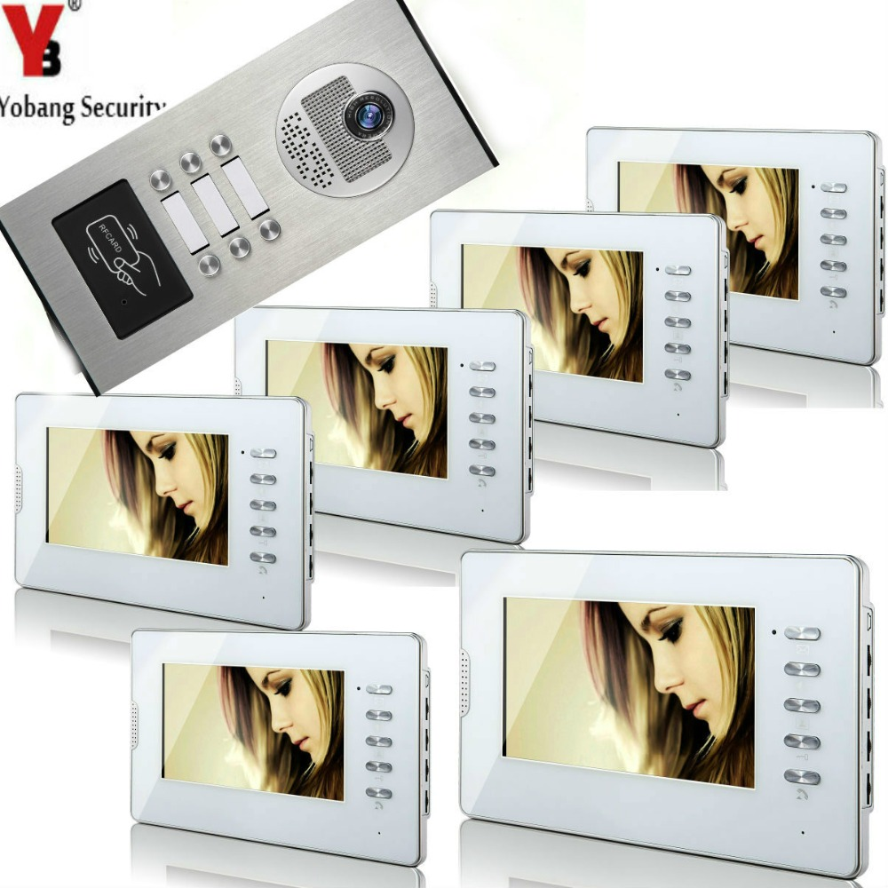 YobangSecurity Home Video Intercom 7 Inch HD Visual Door Doorbell RFID 6 Unit Apartment Access Control System Video Door Phone.