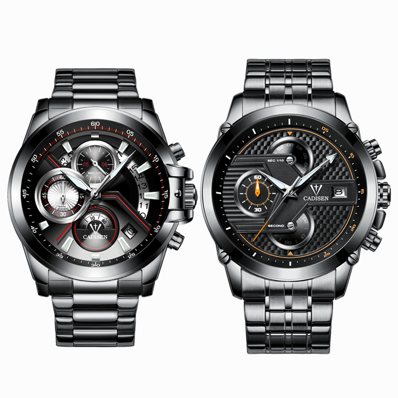 2018 New Multifunction big brand quartz watches movement luminous men watch Stainless steel with leather watch Waterproof watch цена и фото