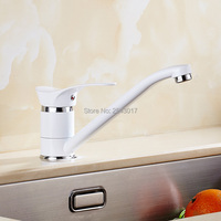 Grilled White Painted Kitchen Mixer Faucet Swivel Long Spout Deck Mounted Chrome Finish Sink Torneira Cozinha