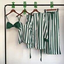 Automne femmes pyjamas ensembles 4 pièces Spaghetti sangle Satin vêtements de nuit femme rayures soie à manches longues maison vêtements Pijama