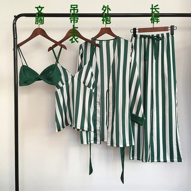 Autumn Women Pajamas Sets 4 Pieces Spaghetti Strap Satin Sleepwear Female Stripes Silk Long Sleeve Home Clothing Pijama
