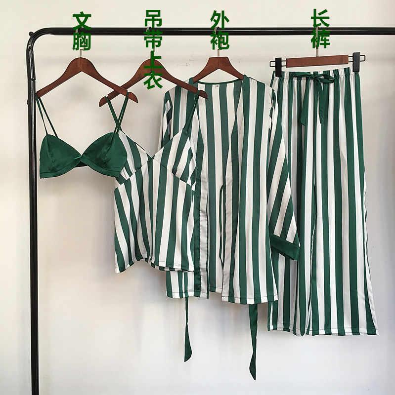 Sonbahar kadın Pijama setleri 4 adet spagetti kayışı saten Pijama kadın çizgili ipek uzun kollu ev giyim Pijama