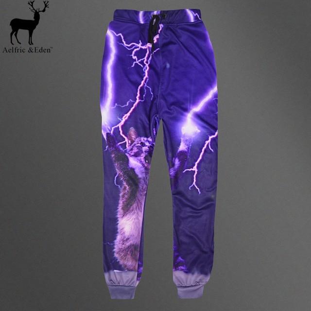 Aelfric Eden Моды для Мужчин 3D Печать Молния Cat Педаль Jogger Брюки Мужские Purple Hip Hop Удобные Тренировочные Брюки