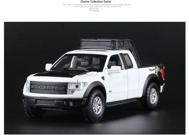 4 Colors 1/32 Scale Alloy Car Model Ford Raptor F150 Truck W Light & Sound Kids Toys Diecast Collection Gift