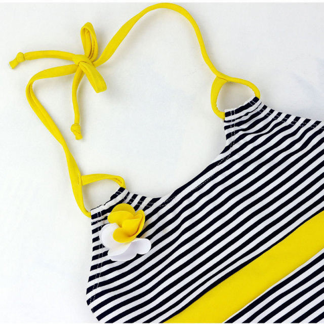 2018 New Quality Lovely Striped Baby Swimsuit Girl One Piece Swimsuit Children's Swimwear for Girls Beach Wear Kids Bathing Suit