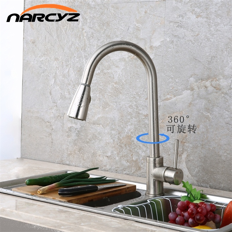 Newly Arrived Pull Out Kitchen Faucet Brushed Nickel Sink Mixer Tap 360 degree rotation torneira cozinha mixer taps XT-40 xoxo kitchen faucet brass brushed nickel high arch kitchen sink faucet pull out rotation spray mixer tap torneira cozinha 83014