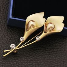 2019 Crystal Rhinestones beautiful Tulip Shape Trendy Clothing Accessories Brooches Pin Party Dress Broach Gift Jewelry long chain with windmill shape brooches pin