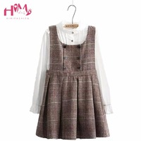 Japanese Mori Girl Preppy Style Soft Sister Dress Plaid Non Sleeve Autumn New Collection Vintage Student
