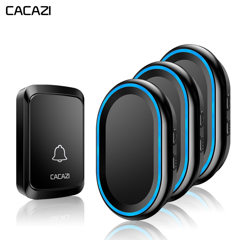 CACAZI Home Wireless Intelligent Doorbell LED night light Waterproof 1 Button 3 Receiver 300M Remote cordless bell US EU UK PlugCACAZI Home Wireless Intelligent Doorbell LED night light Waterproof 1 Button 3 Receiver 300M Remote cordless bell US EU UK Plug