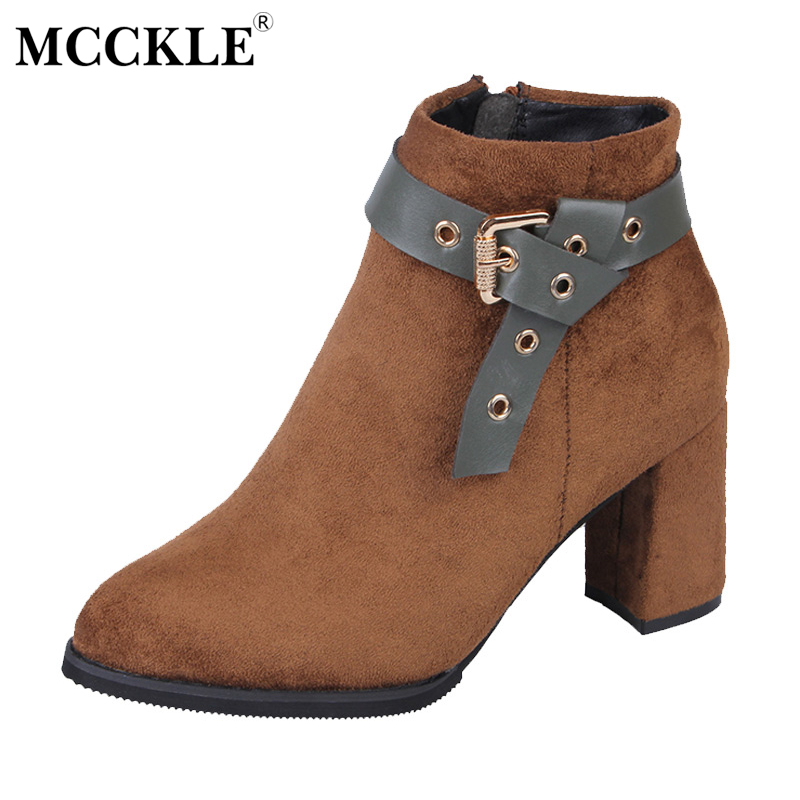 MCCKLE Ladies Fashion Zip Buckle Sexy Ankle Boots Women Thick Heel Autumn Office Comfortable Flock Black Style High Heels qiu dong in fashionable boots sexy and comfortable women s shoes the new national style high heel heel thick heel