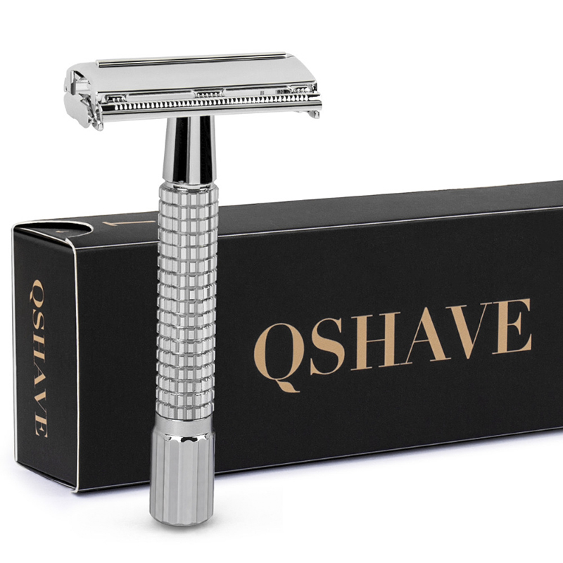 QSHAVE 8.7cm Short Handle Classic Safety Razor With 5 Blades As Gift Silver Plated Epilator Weishi Straight Razor Hair Removal