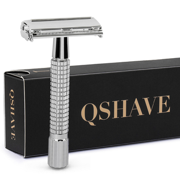 QSHAVE 8.7cm Short Handle Classic Safety Razor with 5 blades as gift silver plated Epilator weishi Straight Razor hair removal Razor