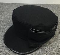 Xongkoro Ladys Australia 100% Wool Cap Girl Flat Top Bowknot Military Hat Old Fashion Navy Caps Black Army Hats For Women