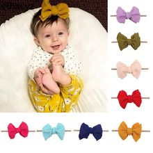 2019 New Arrival 7'' Hair Bows Hairband Texture Nylon Headbands For Girls Soft Solid Elastic Kids DIY Hair Accessories
