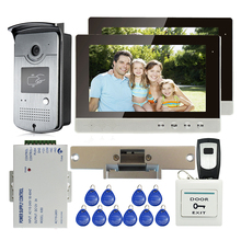 """ENVÍO LIBRE 10 """"Pantalla a Color LCD de Video Teléfono de Puerta de Intercomunicación Sistema de 2 Monitores de Cámara + Golpe door Lock + RFID de Acceso Al Aire Libre"""