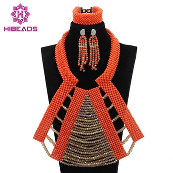 Free Shipping! Luxury Big Costume African Coral Jewelry Sets Champagne Gold Bib Statement Wedding Necklace Set 2017 New CNR612