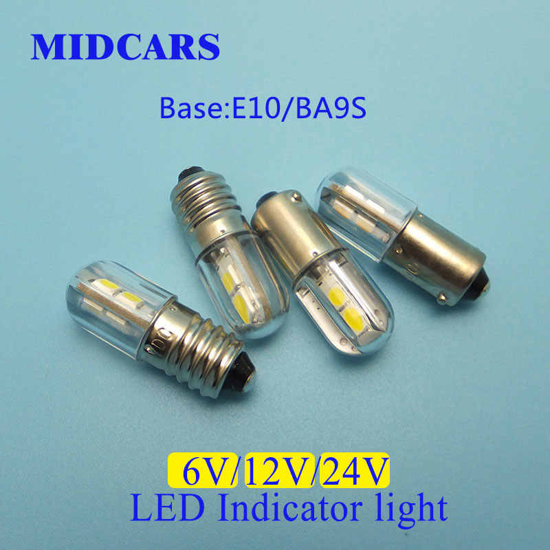 MIDCARS High Quality 6V T4w Ba9s E10 12v LED LIndicator light Bulb, 4 SMD 3030 LEDs Rear 24V Bulb