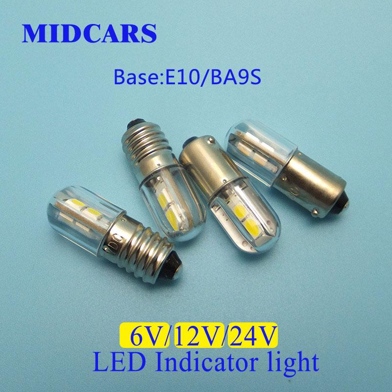 MIDCARS High Quality 6V T4w Ba9s E10 12v LED LIndicator Light Bulb 4 SMD 3030 LEDs Rear 24V Bulb