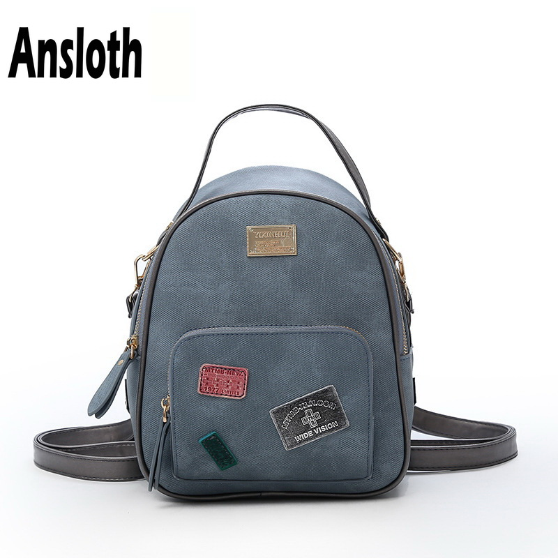 01a6df072e Ansloth Vintage Style Women Backpack New Fashion Small Bag PU Leather Female  Brand Backpack For Teenager Girl School Bag HPS33