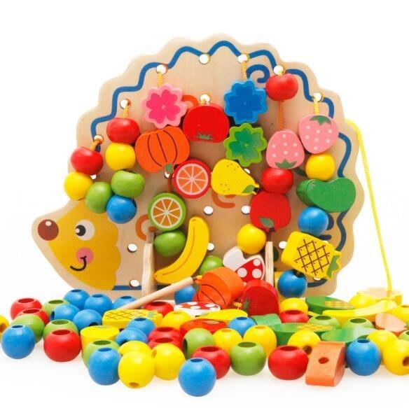 82 шт. Ежик фрукты бисер обучения Образование Деревянные игрушки Монтессори Oyuncak Развивающие игрушки для детей
