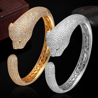 Luxury Brand Cubic Zircon Leopard Animal Bangles For Women Men Jewelry Perfect Copper Gold Silver Color