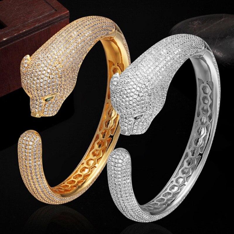 Marque de luxe zircon Cubique Léopard Animal Bracelets pour Femmes Hommes Bijoux Parfait De Cuivre Or argent couleur De Mariée Bracelets Bracelet