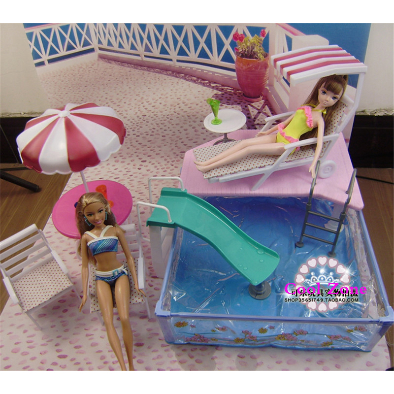 Miniature furniture summer resort for barbie doll house pretend play swimming pool toys for girl for Barbie doll house with swimming pool