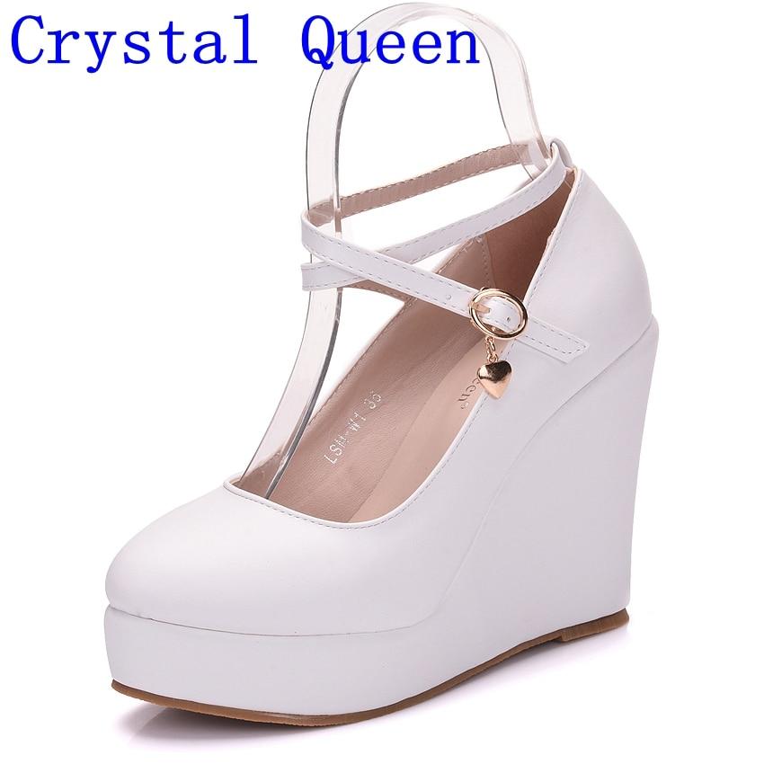 Crystal Queen White Platform Wedges Shoes Pumps Women High Heels Platform Shoes Round Toe Wedges Pumps Cross Tie Wedges Heels-in Women's Pumps from Shoes