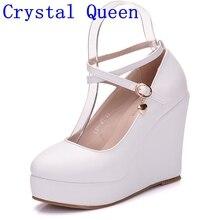 Crystal Queen białe buty na koturnie buty czółenka damskie buty na wysokim obcasie buty na platformie okrągłe Toe klinowe czółenka krzyżowe wiązanie kliny obcasy