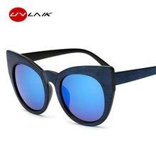 fdc86a5c2d861 UVLAIK surdimensionné lunettes de soleil yeux de chat femmes rétro Imitation  bois Grain cadre lunettes de soleil dames conceptio.