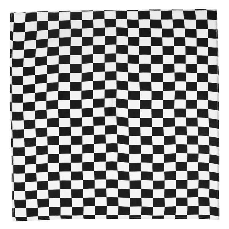 أبيض أسود متقلب العلم سباق باندانا للجنسين متعدد الاستخدامات عقال مربع دراجة نارية الرياضة في الهواء الطلق الشعر التفاف معصمه 55x55 سنتيمتر