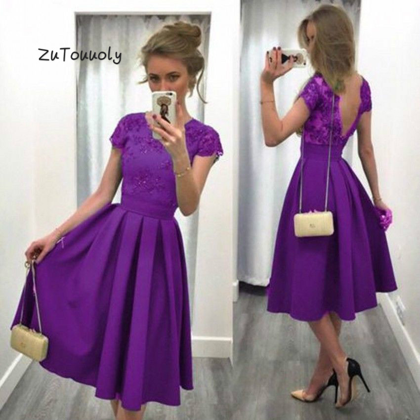 Modest Purple Short Prom Dresses Sexy Backless Boho Evening Dress Tea Length Short Sleeve Women Party Dresses 2018 Outfits Prom