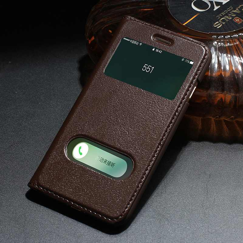 bilder für Echtes Leder-kasten Für Iphone 7 7 Plus Luxus Magnetische Schutzhülle Fenster-ansicht Coque Für Iphone 7 Flip Fall