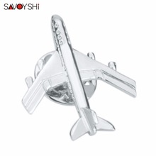 SAVOYSHI Funny Silver Plane Shape Men Lapel Pin Brooches Pins Fine Gift For Mens Brooches Collar Party Engagement Brand Jewelry long chain with windmill shape brooches pin