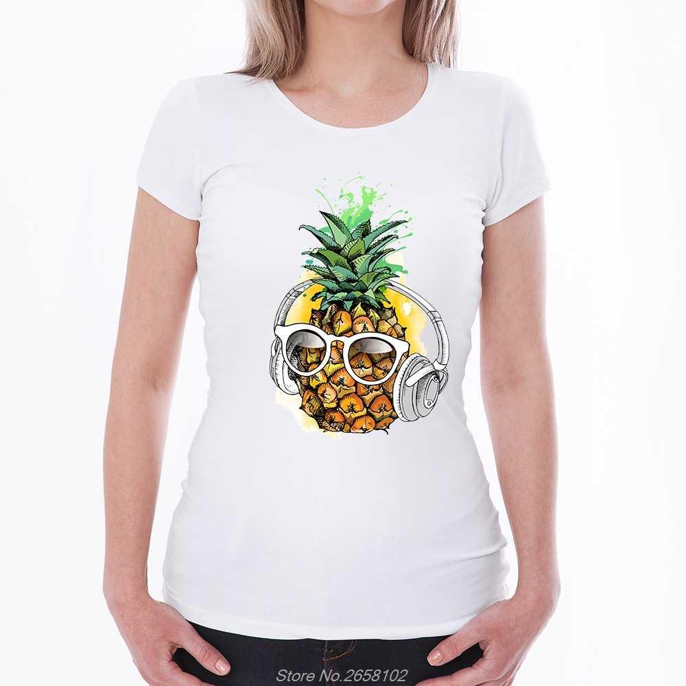 Divertente Ananas Delle Donne Ha Stampato Manica Corta T-Shirt Summer Cool Top O-Collo Causale Retro Harajuku Maglietta del Cotone Streetwear