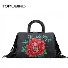TOMUBIRD new superior cowhide leather luxury handbags women bags designer tassel Leather Tote Handbags genuine leather bag tomubird 2017 new superior leather retro embossed designer famous brand women bag genuine leather tote handbags shoulder bag