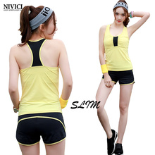 New Spring Women's Sportswear Women Yoga Set Exercise Vest and Shorts Solid Breathable Fitness Sport Suit Women Three Color M-XL