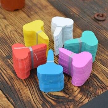 100 Uds. Marcadores de maceta de plantas de plástico con Mini etiqueta T para jardín de colores, etiquetas de plántulas suculentas para bonsái, accesorios de decoración