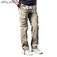 2017 Khaki Casual Cargo Military Pants Men Tactical Style Trousers Straght Pants 100 Cotton Clothing Large