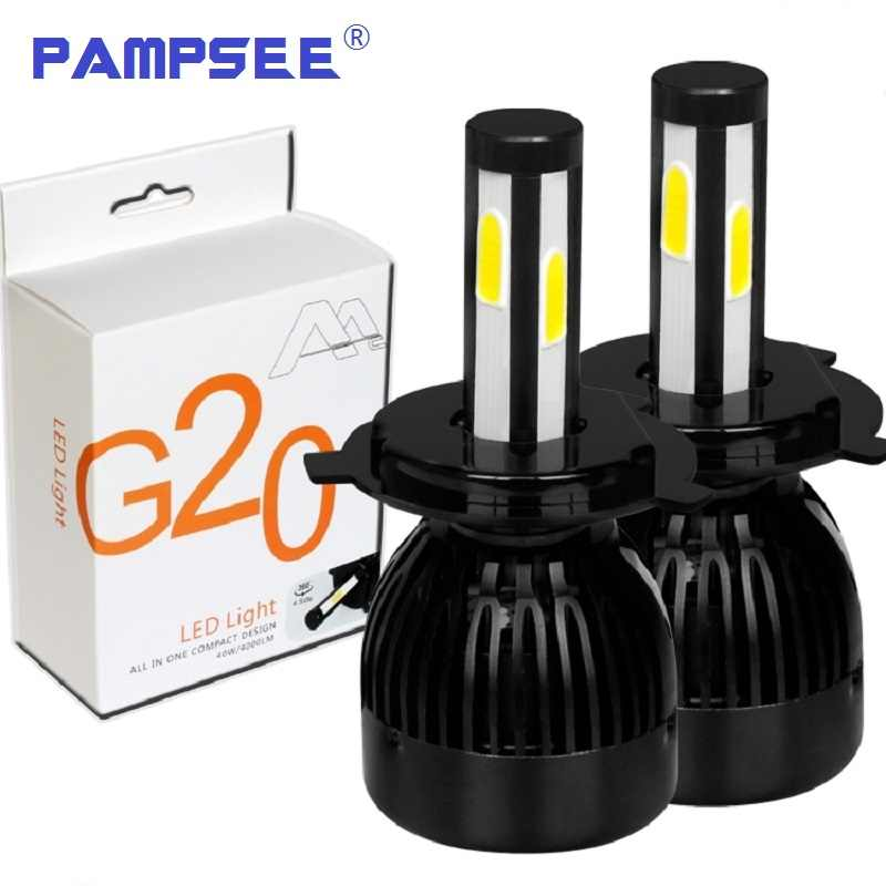PAMPSEE G20 Car Headlights H4 H7 H8 H9 H11 9005 9006 9012 D2 9007 8000LM 6000K 80W COB chips Auto led Headlamp Motorcycle lamps