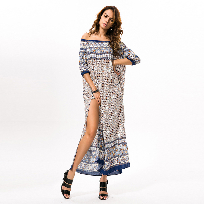 DZZYFJC Sexy Maxi Dress Boho Beach Floral Print Slash Neck