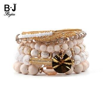 BOJIU Multilayer Natural Stone Bracelets For Women Gold Zirconia Tube Spring White Howlite River Stone Crystal Bracelet BCSET199