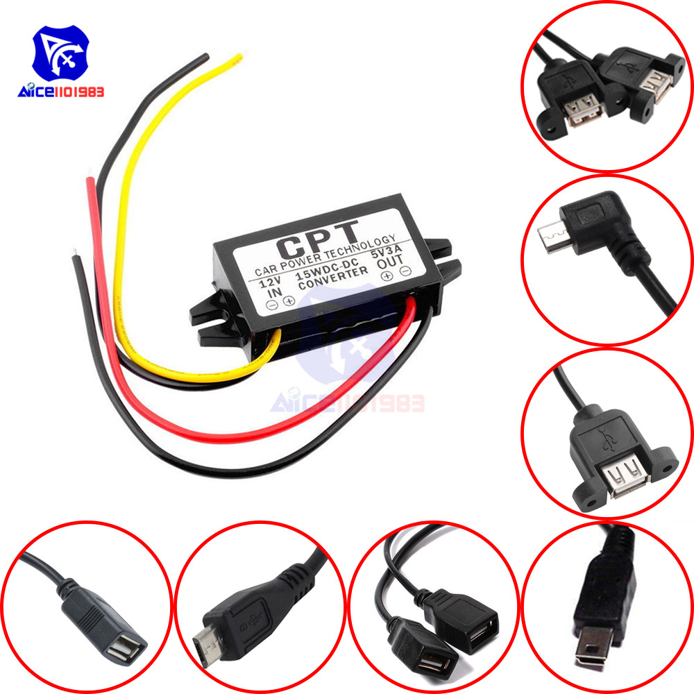 DC-DC Step Down Buck Converter Power Supply Module 12V To 5V 3A 15W For Car Male Female USB Adapter Mini USB Micro USB Adapter