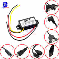 diymore DC-DC Step Down Buck Converter Power Supply Module 12V to 5V 3A 15W for Car Male Female USB Mini USB Micro USB Adapter