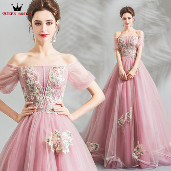 Ball Gown Short Sleeve Tulle Lace Beading Crystal Pink Luxury Evening Dresses 2020 New Arrival Evening Gown Robe De Soiree JU34